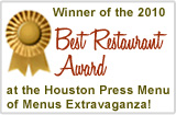 Winner of the 2010 Best Restaurant Award